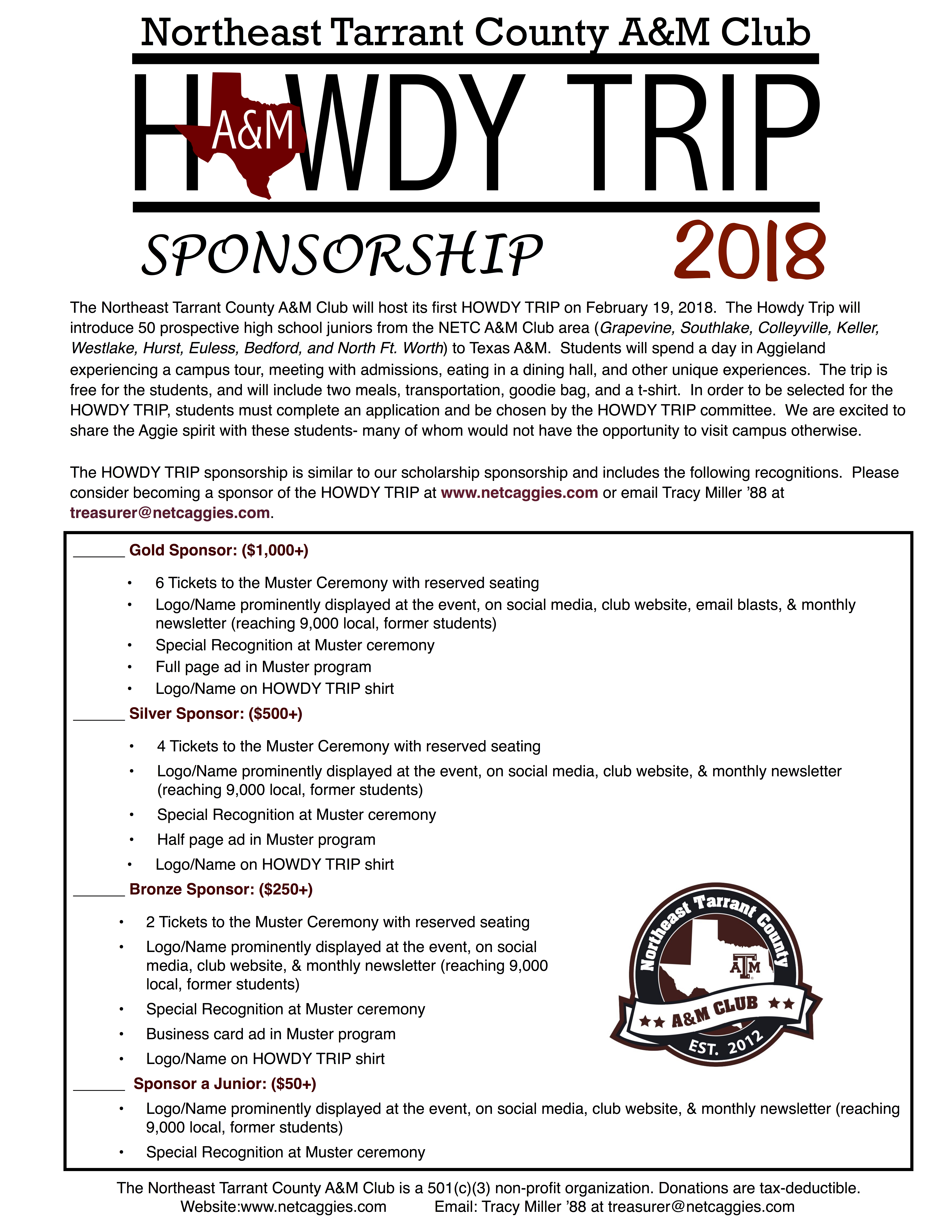 Howdy Trip 2018 Applications & Sponsorships – Northeast Tarrant ...